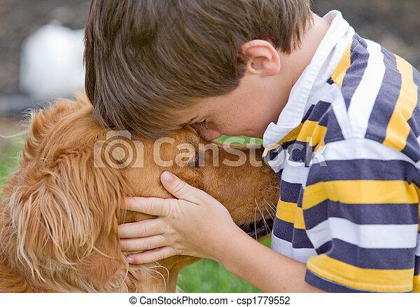 garçon, peu, chien - csp1779552