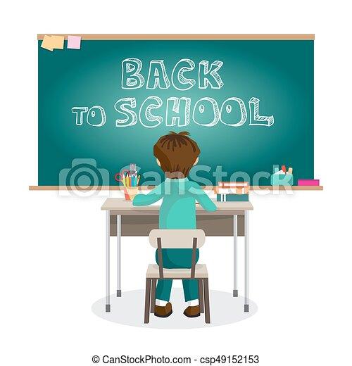 Garcon Plat School Seance Tableau Noir Primaire Illustration Isole Vecteur Bureau Dessin Anime Premier