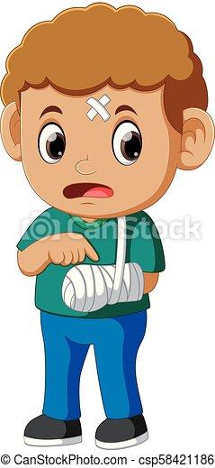 garçon, projection, bras, cassé - csp58421186