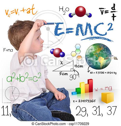 garçon, science, jeune, écriture, génie, math - csp11709229