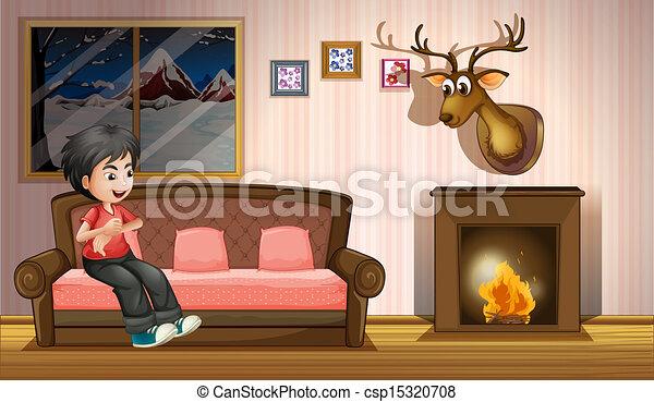 garçon, sofa, cheminée, séance - csp15320708