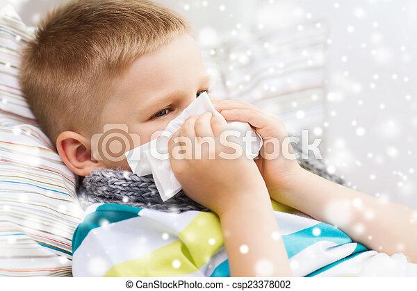 garçon, souffler, malade, tissu, nez, maison - csp23378002