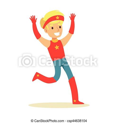 garçon, superhero, avoir, habillé, caractère, déguisement, feindre, étoile, sourire, bandeau, super, pouvoirs, rouges - csp44638104