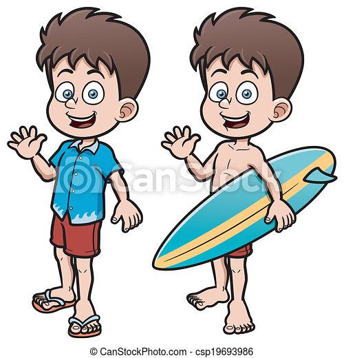 garçon, surfeur - csp19693986