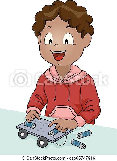 garçon, voiture électrique, illustration, tige, gosse - csp65747916
