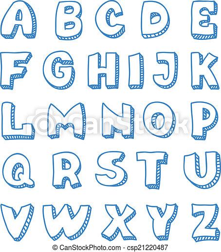 El alfabeto inglés al estilo garabato - csp21220487