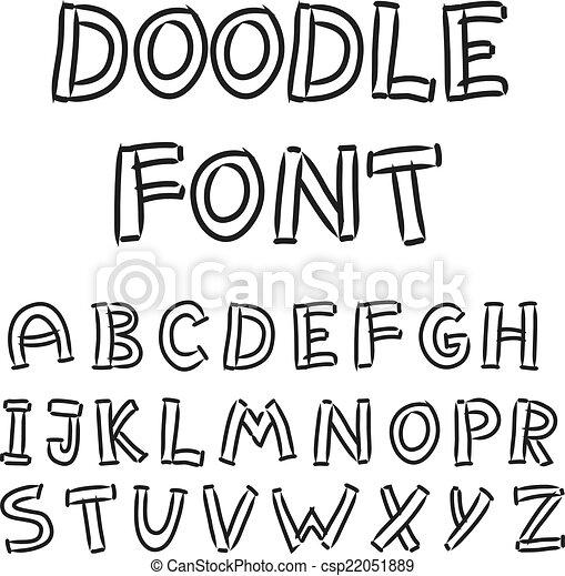 El alfabeto inglés al estilo garabato - csp22051889