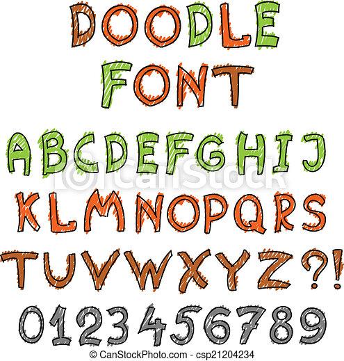 El alfabeto inglés al estilo garabato - csp21204234
