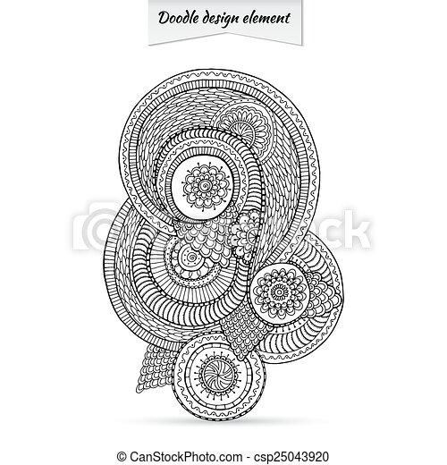 Diseño floral de henna paisley doodle floral. - csp25043920