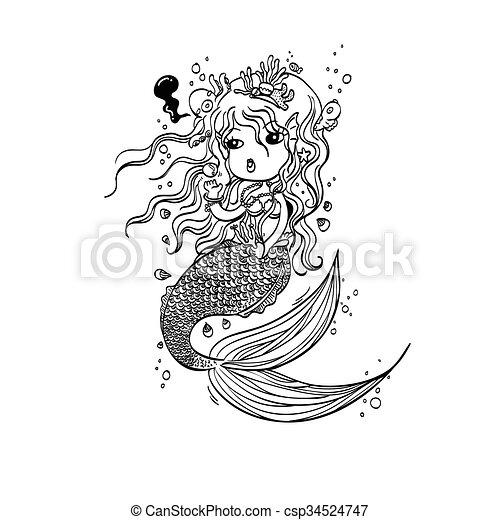 Sirena De Fideos Bajo El Coche Marino Ilustración Vectorial