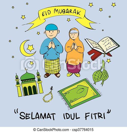 Eid mubarak doodle - csp37764015