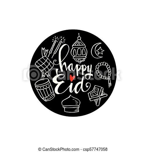 Eid mubarak doodle - csp57747058