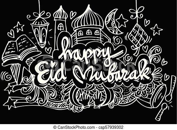 Doodle eid mubarak - csp57939302