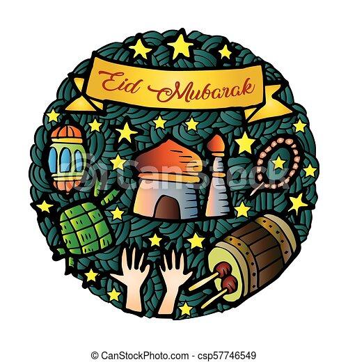 Eid mubarak doodle - csp57746549