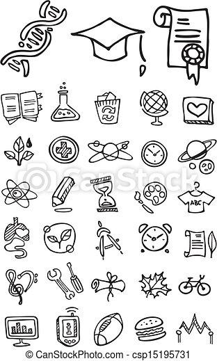 Escuela de Fideo y iconos universitarios - csp15195731