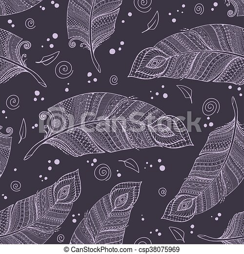 Patrón de fondo dorado de floración brasileña sin costura en vector con plumas. - csp38075969