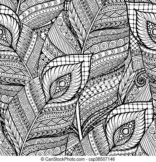 Asiano sin costura floral floral retro doodle negro y blanco patrón de fondo en vector con plumas. - csp38507146
