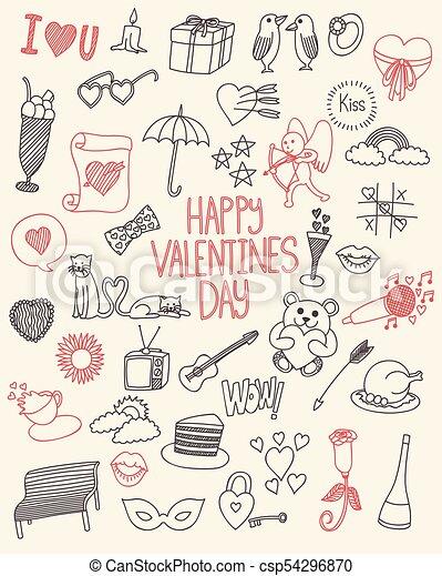 Feliz colección de garabatos de San Valentín - csp54296870