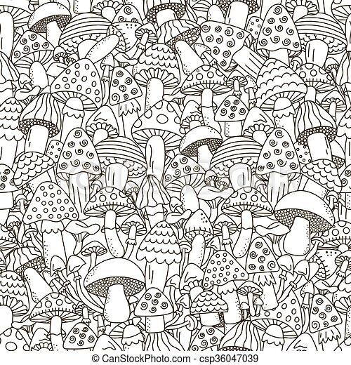 garabato, pattern., seamless, hongos, fondo negro, blanco - csp36047039