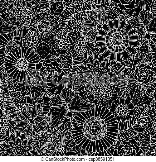 Patrón de fondo blanco y negro étnico - csp38591351