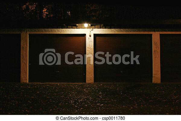 Garage at night - csp0011780