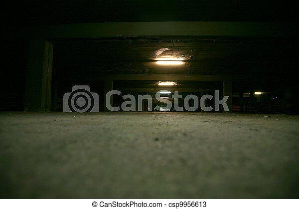 Garage at night - csp9956613