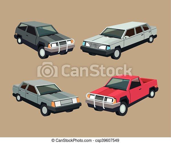 Garage, auto, fester entwurf, auto. Auto, bunte, auto, set.,... EPS ...