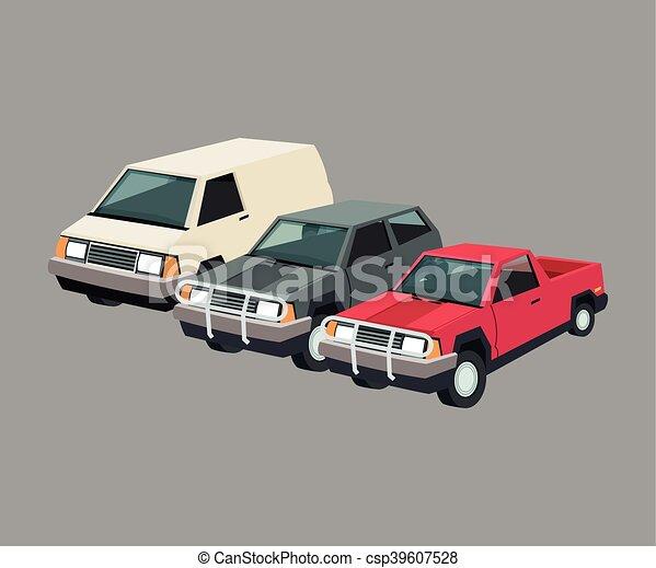 Garage, auto, fester entwurf, auto. Auto, bunte, auto, set ...
