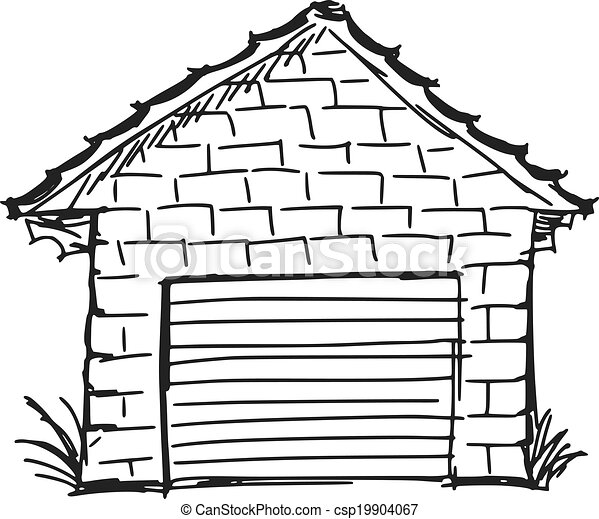 Hand Drawn Sketch Cartoon Illustration Of Garage