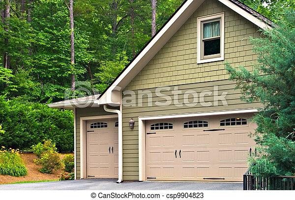 Garage Doors on a House - csp9904823