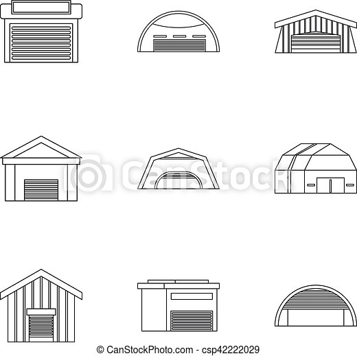 Garage icons set, outline style - csp42222029
