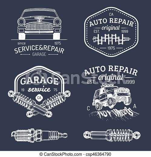 Garage Logos Set Car Repair Emblems Collection Vector Eps - Car signs logos