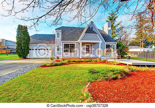 Garage, Maison, Moderne, Terrace., Béton, Walkway   Csp38707328