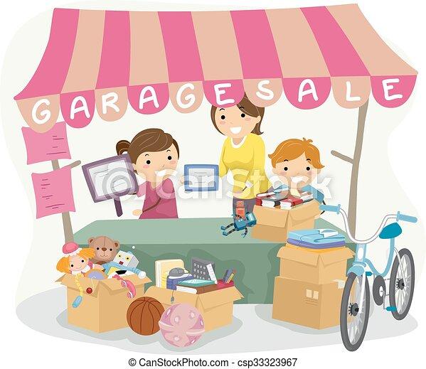 Garage Sale Kids Illustration Of Manning A