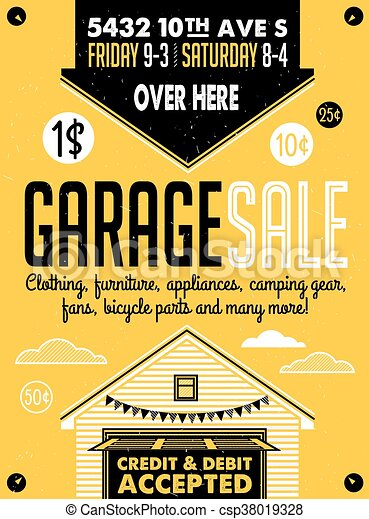 Garage sale poster. Garage or yard sale with signs, box and ...