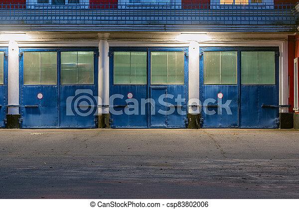 garage, soir, portes, time. - csp83802006