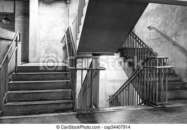 garage, stationnement, étapes, béton - csp34407914