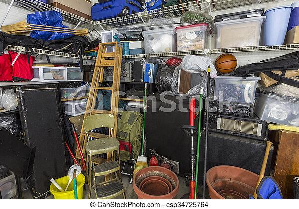 garage, très, désordre - csp34725764