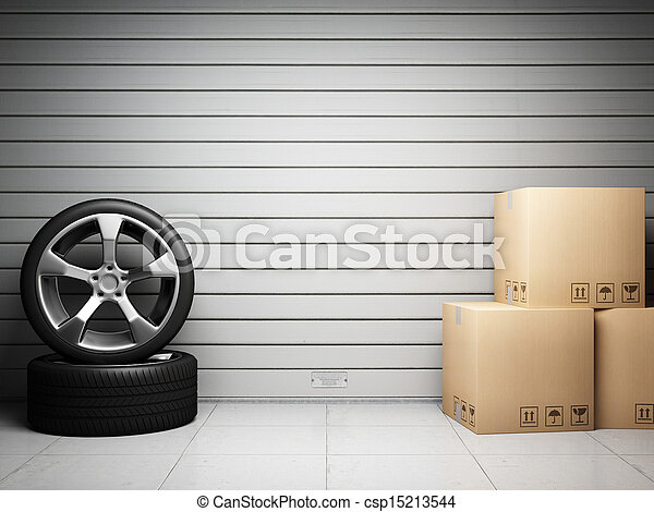Garage with car spare parts - csp15213544