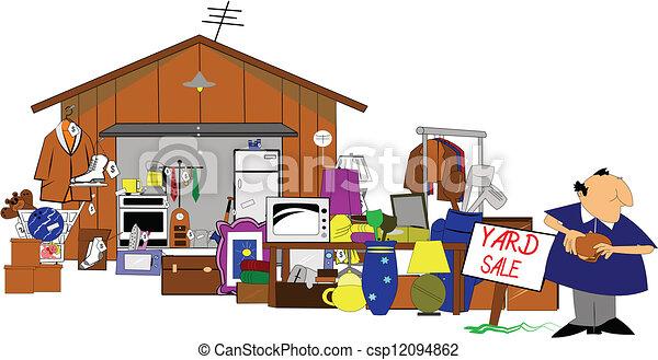 garage, yard, énorme, vente - csp12094862