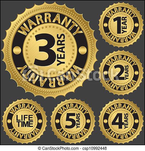 garantie, gouden, set, vector, etiket - csp10992448