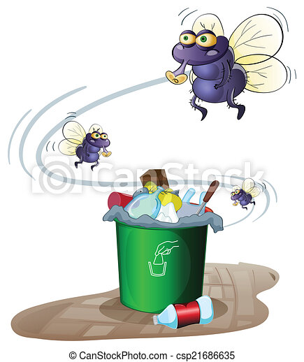 Garbage and flies - csp21686635