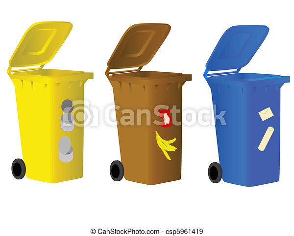 Garbage bins for sorting waste  - csp5961419