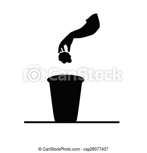 garbage can black vector - csp28077437