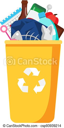 Garbage can with trash inside. Bin and plastic, glass, organic waste - csp93939214