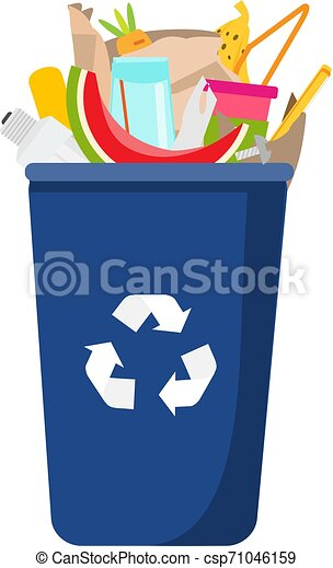 Garbage can with trash inside. Can and plastic, glass, organic waste - csp71046159