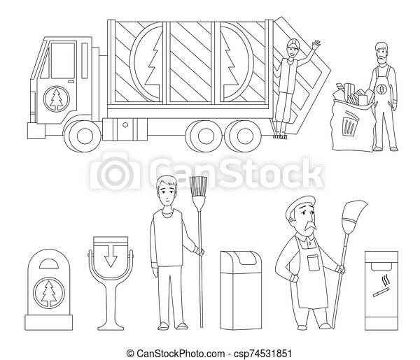 Coloring Page With Trash Can Stock Vector - Illustration of ... | 391x450