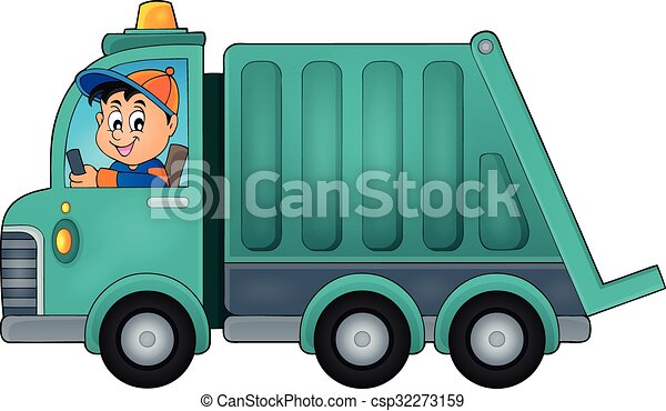 garbage collection truck theme image 1 - eps10 vector clipart