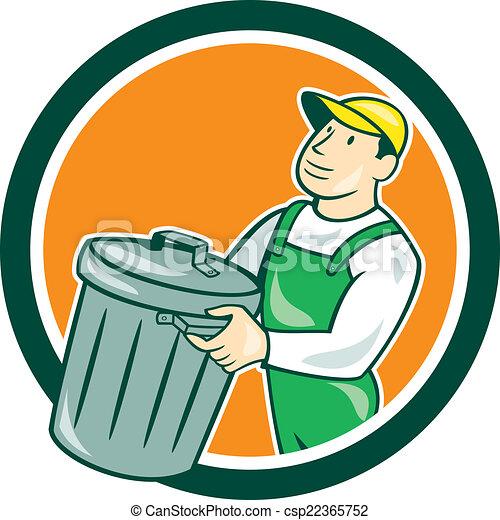Garbage collector carrying bin circle cartoon ...  Garbage collect...