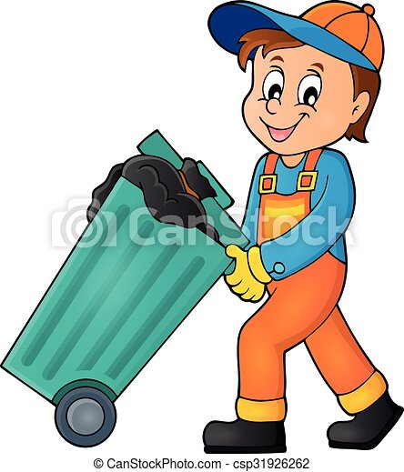 garbage collector theme image 1 eps10 vector illustration clip rh canstockphoto com clipart garbage can garbage clip art free